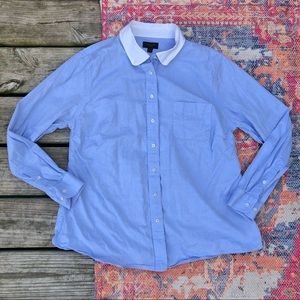 Coach blue with white collar button down shirt
